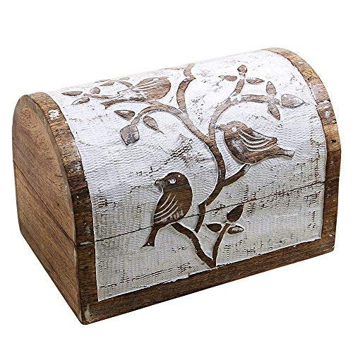 Thanksgiving Keepsake Jewelry Storage Box White and Brown Birds Design Wooden Multipurpose Tools Holder from Store Indya