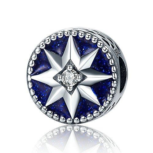Christmas Frozen Snowflake 925 Sterling Silver Bead For European Charm Bracelet (Blue1) (Sterling Jewelry Frozen Silver)