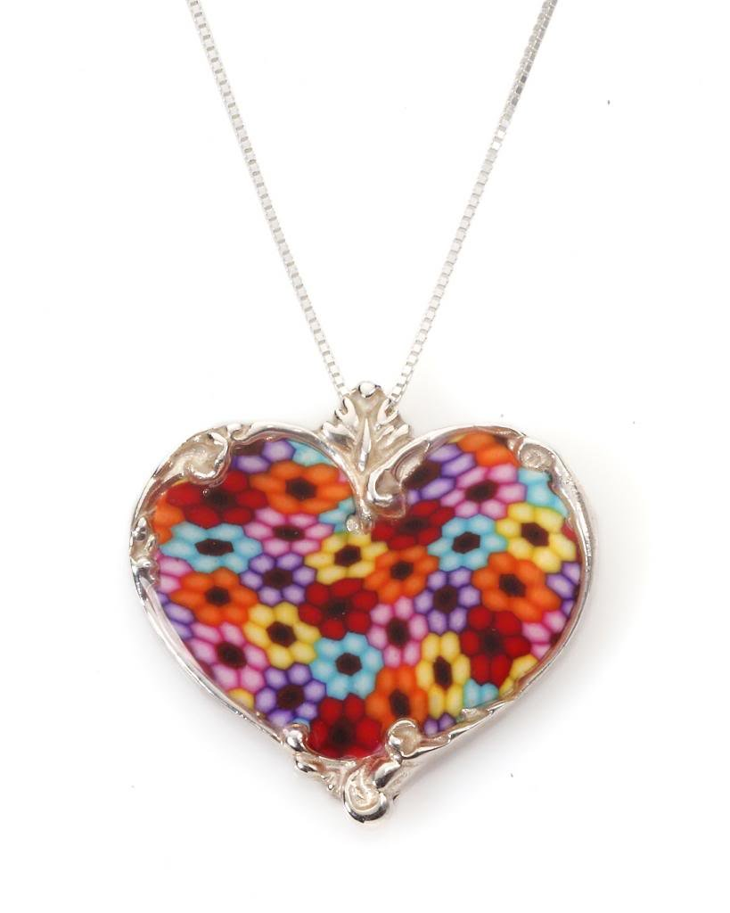 925 Sterling Silver Heart Necklace Pendant Handmade Multi-Colored Polymer Clay Jewelry, 16.5''