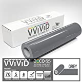 VViViD Grey Gloss DECO65 Permanent Adhesive Craft Vinyl for Cricut, Silhouette & Cameo (300ft x 11.8'' Master Roll)