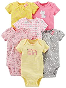 Simple Joys by Carter's Baby Girls' 6-Pack Short-Sleeve Embellished Bodysuit