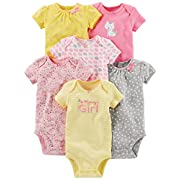 Simple Joys by Carter's Baby Girls 6-Pack Short-Sleeve Bodysuit, Pink/Yellow, 0-3 Months