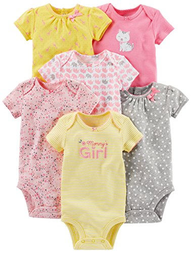 Simple Joys by Carter's Baby Girls 6-Pack Short-Sleeve Bodysuit, Pink/Yellow, 6-9 Months ()
