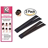 Women's Hair Bun Maker French Twist Hair Fold Wrap Snap by K-Beauty (1 Black, 1 Brown)
