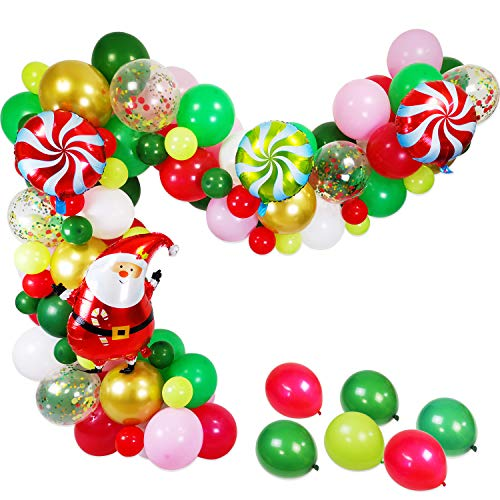 Christmas Balloons Garland & Arch Kit, 94 Pack Dark Green White Red Pink Gold Latex Balloons Candy Santa Claus Foil Confetti Balloon Strip Set for Christmas Xmas New Year Party Decorations