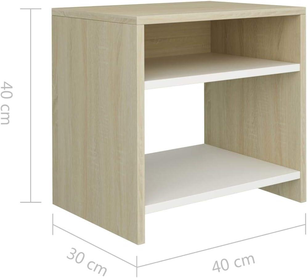 LITEBUF Table de Chevet Blanc et ch/êne Sonoma 40 x 30 x 40 cm Agglom/ér/é