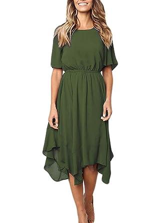 66b81447c3a Bolomi Women s Dresses Casual Chiffon Irregular Hem Short Sleeve Round Neck  Swing Pleated Dress  1