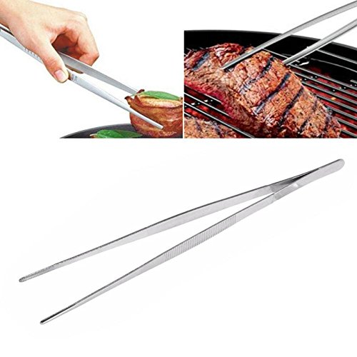 1PC Barbecue Tongs Food Tongs Food Clip Kitchen With Stainless Steel Tweezers Plastic Clip Barbecue Buffet Restaurant Tool