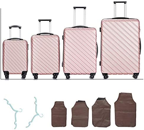 Hardside Luggage Sets with 4- Spinner Wheels, 4-Piece Lightweight Carry- on Suitcase Sets in 18 20 24 28 FREE Protectors and Cloth Hangers