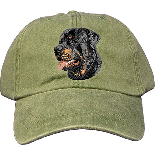 (Cherrybrook Dog Breed Embroidered Adams Cotton Twill Caps - Spruce - Rottweiler)