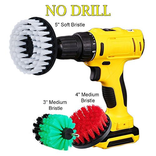 DUOSHIDA Drill Brush Soft Medium Stiff Bristle Powered Scrub Attachments Cleaning Kit for Bathroom Shower Grout Carpet Tires Boats Ceramic Marble Wheels Glass Carpets Upholstery (3''+4''+5'') 4' Upholstery Tool