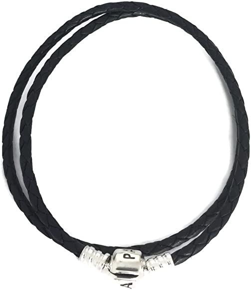 31def97eb Amazon.com: Pandora Women's Double Black Leather Bracelet ...