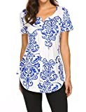 Plus size Blouses for Women Casual Shirts Tunic Tops Maternity Ruffle Flare Tee XXL,Blue