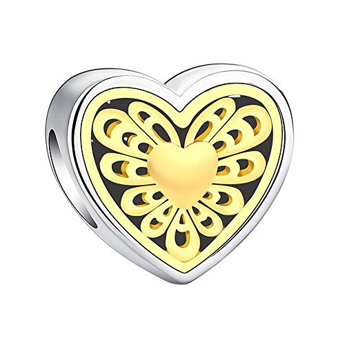 Glamulet Love Heart Charm Openwork 925 Sterling Silver
