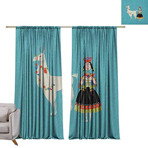 Thermal Curtains Llama,Peruvian Woman Knitting with a White Alpaca Wrapped with Flower Colorful Illustration, Multicolor W84 x L84 Blackout Curtains for Bedroom