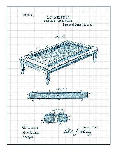Folding Billiard Table Patent Print Art Poster Blue Grid  M1