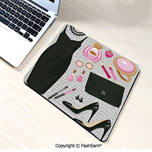 Mouse Pads Black Smart Cocktail Dress Perfume Make Up Clutch Bag for Home(W7.8xL9.45) ()