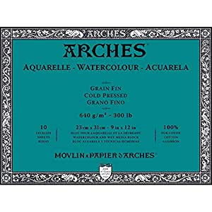 """Arches Water Colour Block, 300 lb / 640GSM, Cold Pressed, 9"""" x 12"""""""