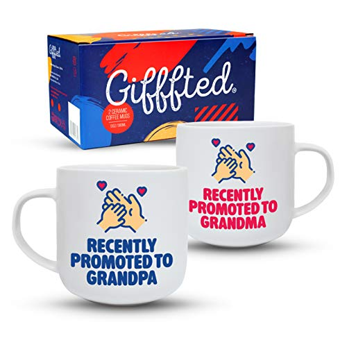 (Gifffted Recently Promoted Grandparents Coffee Mugs, First Time New Expecting Baby Announcement Day Gifts For Grandma and Grandpa, Best Grandparent Pregnancy Gift Mug, Youre Going To Be, Cup, Set     )