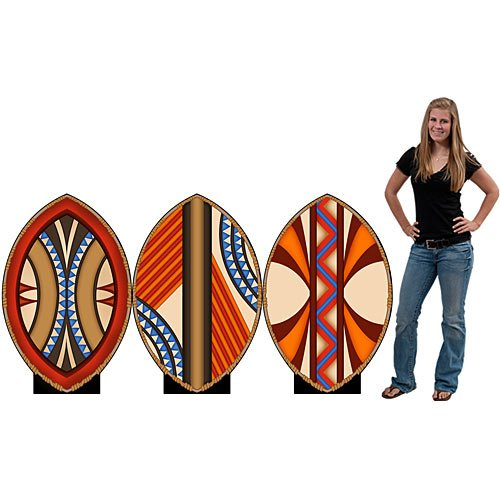 3 ft. 10 in. African Shield Standee Set Standup Photo Booth Prop Background Backdrop Party Decoration Decor Scene Setter Cardboard Cutout ()