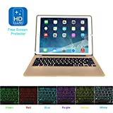 MOSTOP iPad Pro 12.9-inch Keyboard Bluetooth 7-color LED Backlit Slim Aluminum Wireless Keypad with Built-in 5600mAh Power Bank for iPad Pro 12.9'' (Gold)