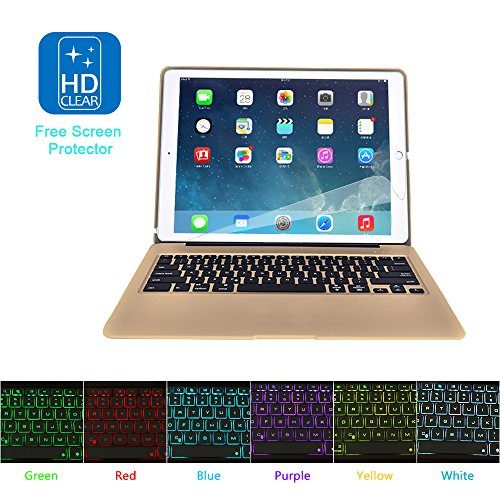 MOSTOP iPad Pro 12.9-inch Keyboard Bluetooth 7-color LED Backlit Slim Aluminum Wireless Keypad with Built-in 5600mAh Power Bank for iPad Pro 12.9'' (Gold) by MOSTOP (Image #8)'