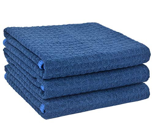 SINLAND Microfiber Dish Towel Kitchen Drying Towels Waffle Weave Hand Towel 3 Pack 16inch X 24inch Navy Blue
