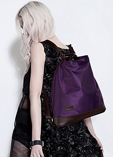 Crossbody Shoulder Color Purple HAUTE Function Backpack HAUTE Multi Purse Bag Black Nylon Tote Fashion LA Women's Handbag LA Elegant Bag w74Bqg