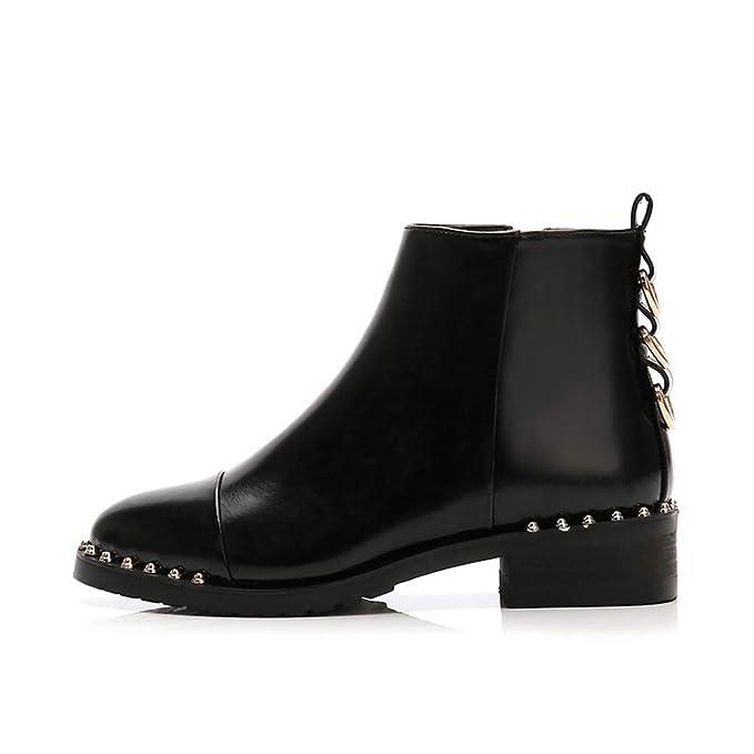 Amazon.com: Sunsee - Botas de tobillo de piel para mujer con ...