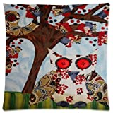 Owl Bird Tree Throw Pillow Case Cushion Covers Square 18x18 Inch (one side)