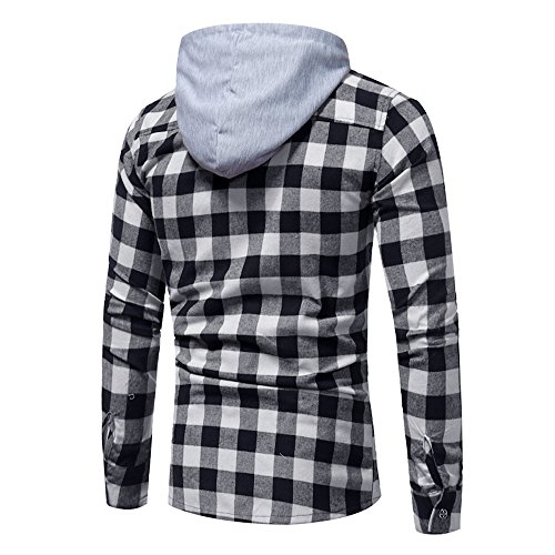 Plaid Hoodie Men Duseedik Men Long Sleeve Lattice Printed Hooded Sweatshirt Tops Blouse Outwear