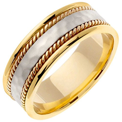 Hammered Flat Surface Unique Women's 8 Mm 18K Two Tone Gold Comfort Fit Wedding - Sha Finish White