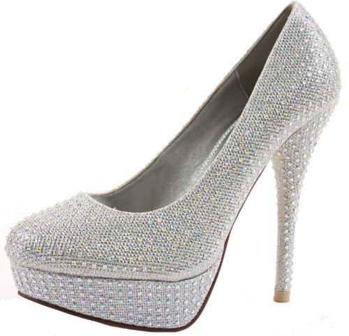 Ladies Platform Pumps High Heel Stiletto Court Shoes Size with shoeFashionista Boutique Bag Silver Glitter Mesh 8blvDjIjIX