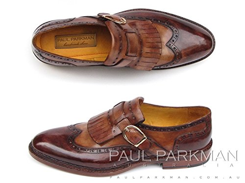 Paul Parkman Double Leather Sole with Brown Leather Upper Men's Wingtip Monkstrap Handmade Shoes (  EU 43 - US 9.5-10.0 - UK - Double Wingtip