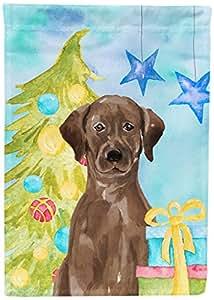 Caroline 's Treasures BB9400GF Chocolate Labrador Navidad Decoración Jardín Bandera, Multicolor