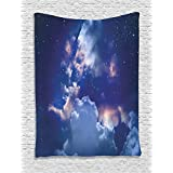 Ambesonne Space Decorations Collection, Magic Sky View with Star and Clouds Celestial Miraculous World Cosmic Expanse Theme, Bedroom Living Room Dorm Wall Hanging Tapestry, Blue White