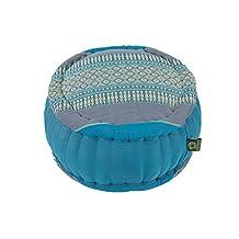 Zafu Round Cushion 100% Kapok, Thai Design Blue Tones