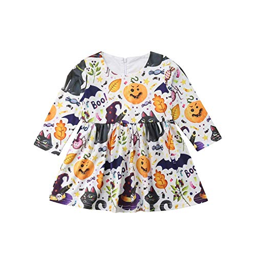 HESHENG Baby Girl Dress Infant Halloween Pumpkin Clothes Toddler Long Sleeve Skirt One Piece Outfits Set (110(3-4Y)) -