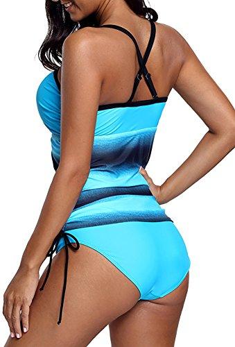 Blu Socluer Bagno Tankini Set Bikini Push Summer Up Da Beach Donna Pezzi Due Costumi rnUrqOWdxw