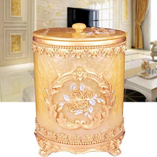 ヨーロピアンスタイルの樹脂ゴミ箱は、リビングルームのベッドルームの豪華なバスルームの丸いレトロ大収納バレル,8