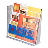Clear-Ad - LHF-S150 - Acrylic Free Standing Bifold Brochure Holder Up To 7.5'' – Plastic Desktop Rack for Pamphlets, Flyers, Booklets, Catalogues (Pack of 4)