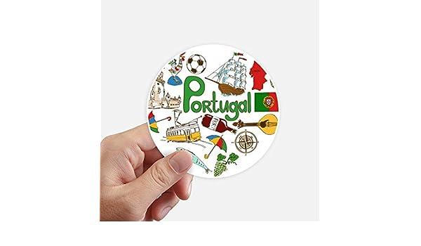 DIYthinker Portugal Amor del corazón de la Bandera Nacional Landscap Redondas 10cm Pared Maleta portátil Motobike Decal 8pcs Diámetro 10cm: Amazon.es: Hogar