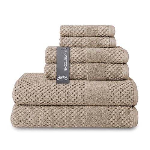 (Chortex Turkish Cotton 6 Piece Towel Set Set of 6, Flax)