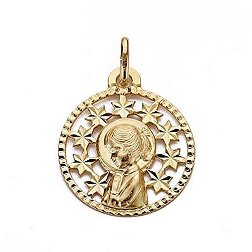 Médaille pendentif Nina Vierge de l'or 19mm 18k. hangar Round [9030]