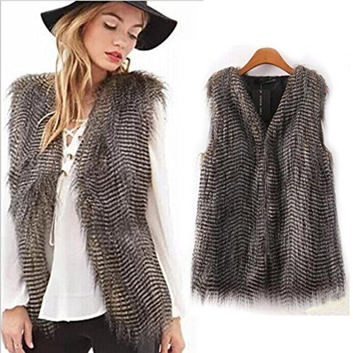 Women's Jacket,Laimeng Sleeveless Vest Coat Outerwear Long Hair Jacket Waistcoat