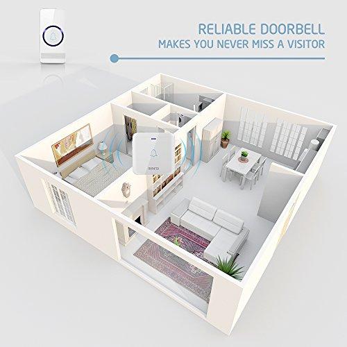 Wireless Doorbell AVANTEK D 3B Waterproof Door Chime Kit Operating at Over 1300 Feet with 2 Plug In Receivers 52 Melodies CD Quality Sound and LED Flash