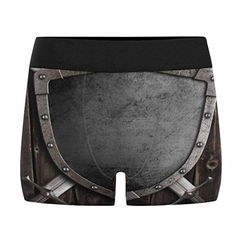 INTERESTPRINT Custom Men's Boxer Briefs Medieval Knight Shield and Crossed Swords on Wooden Gate -