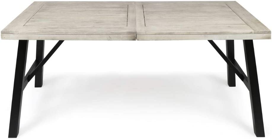 Christopher Knight Home Borocay Outdoor Acacia Wood Dining Table, Light Grey Wash Pu / Pu/Black
