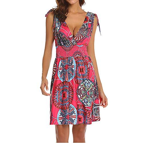 - ✔ Hypothesis_X ☎ Women's Summer Casual Swing T-Shirt Dresses V Neck Backless Boho Sun Flower Beach Short Dress Hot Pink