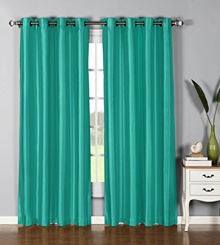 Window Elements Jane Faux Silk Grommet Extra Wide 54 x 84 in. Curtain Panel, Turquoise from Window Elements